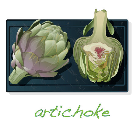 Artichoke on plate vector illustration set. Image isolated on white background. Illustration