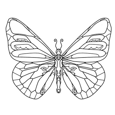Hand drawn butterfly for t-shirt design or tattoo. Coloring book for kids and adults. Vector illustration