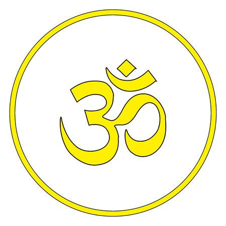 Symbole bouddhiste Ohm vector illustration sur fond blanc. Om.