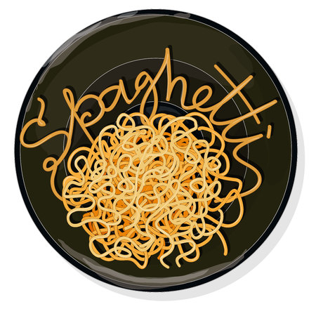 Pasta. Spaghetti on plate vector illustration set  isolated. White background. Illustration