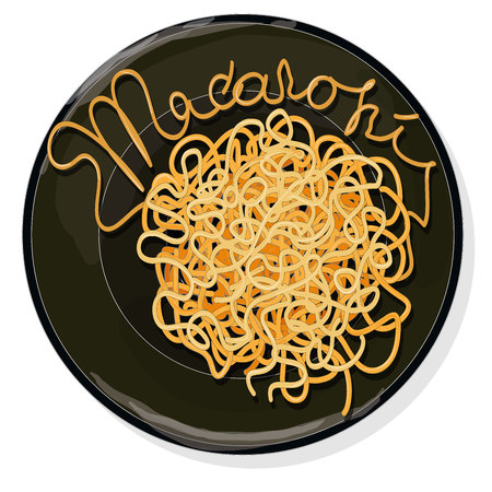 Pasta. Spaghetti on plate vector illustration set  isolated. White background. Ilustrace