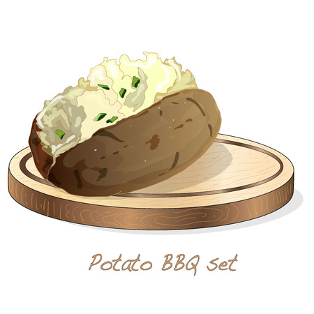 Potato BBQ vector illustration set isolated white background.