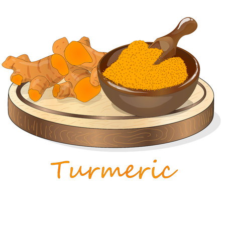 Turmeric (Curcuma longa Linn) set on plate. White background vector illustration. Vettoriali