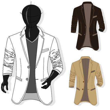 Vector man jacket illustration set. Fashion clothes collection. Illustration