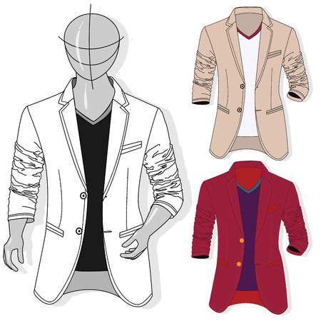Vector man jacket illustration set. Fashion clothes collection. Vettoriali
