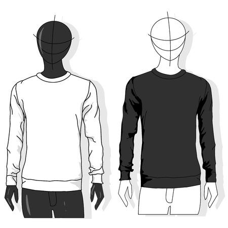 Herren-Sweatshirt mit langen Ärmeln, Vorderansicht, isoliert auf weißem Hintergrund-Vektor-Illustration. Kleidersammlung.