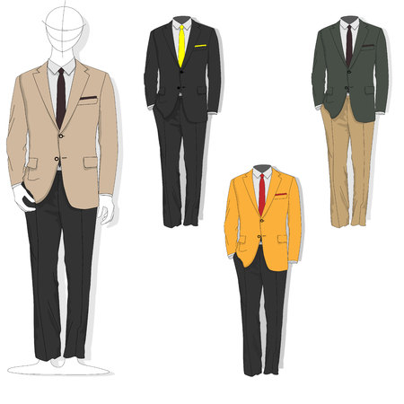 Man suit. Clothes collection. Vector illustration.