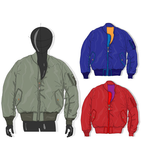Pilot jacket. Bomber. Vector illustration. Men clothes collection.