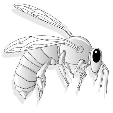 Progettazione di vettore dell'illustrazione dell'ape. Per l'industria creativa, multimedia, intrattenimento, istruzione, negozio e qualsiasi attività correlata. Isolato.