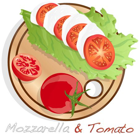 Vector illustration of mozzarella, cherry tomatoes - ingredients for caprese salad on plate. Isolated image.