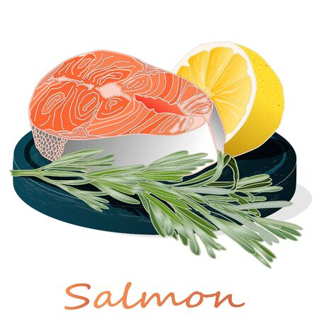 Raw salmon fillets with herbs on wooden desk. White background. Vector illustration.