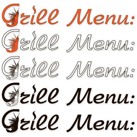 Barbecue, grill, bbq shrimp vector signes and emblems. Illustration of bbq  and grill isolated on white Ilustração