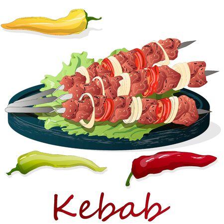 Schaschlik mit Zwiebeln und Kirschtomaten. Gegrillte Fleischspieße. Ansicht von oben. Vektor-Illustration. Vektorgrafik