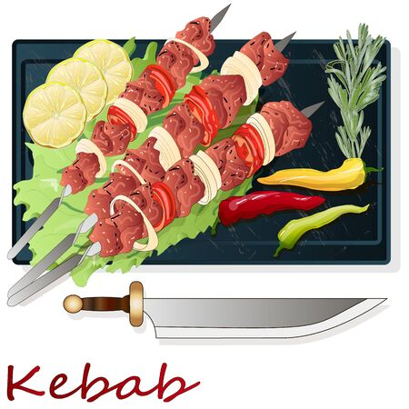 Shish kebab with onion and cherry tomato. Grilled meat skewers. Top view. Vector illustration.