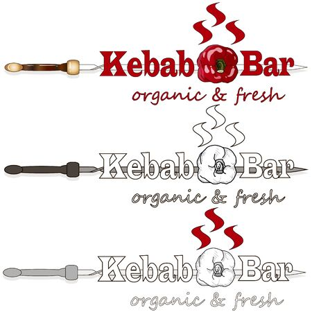 Shish kebab with onion and cherry tomato. Grilled meat skewers. Logo and design. Vector illustration. 일러스트