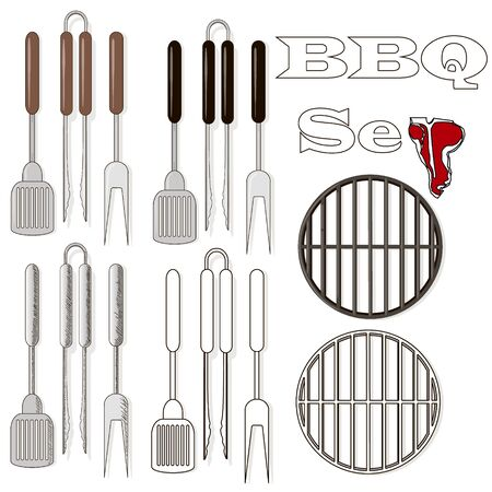 Different special tools for barbecue party. Bbq grill and tools vector illustration.