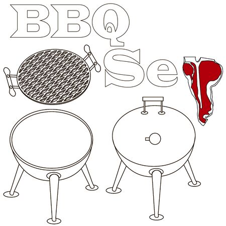 Different special tools for barbecue party. Bbq grill and tools vector illustration white background. Çizim