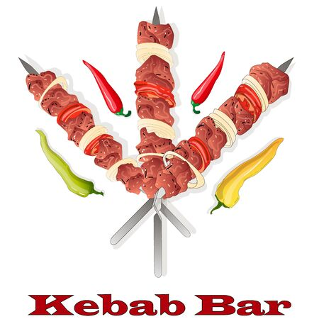 Shish kebab with onion and cherry tomato. Grilled meat skewers.