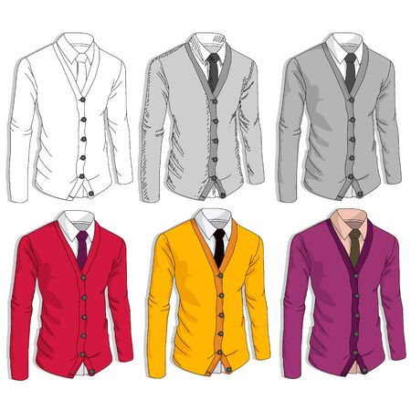 Collection of man business style jackets. Formal suit, tie, different color combinations. Vector illustration.