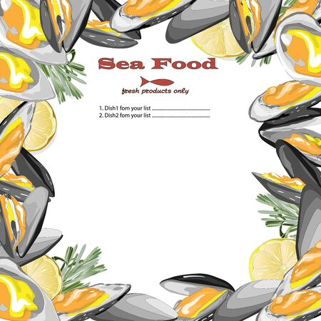 Cooked seafood on top view. Seafood vector illustration.