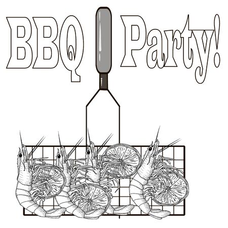 Prawn or tiger shrimp grilliing   bbq vector illustration isolated on white background