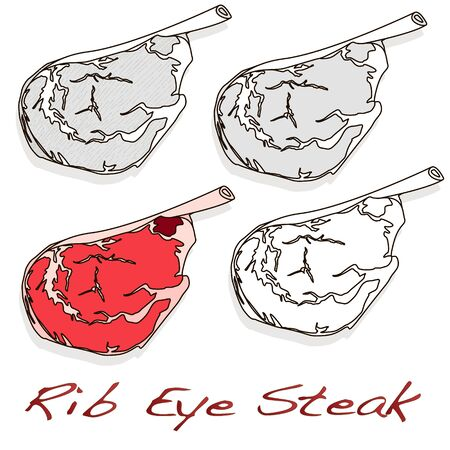 Steak illustration set. Vector images of steaks in different grafic styles, isolated on white background