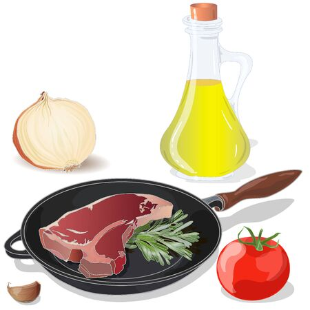 Variety of meat steaks on board with side products and herbs.