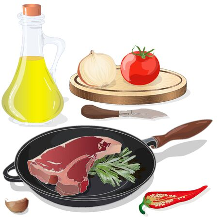 Variety of meat steaks on board with side products and herbs. Vector illustration.