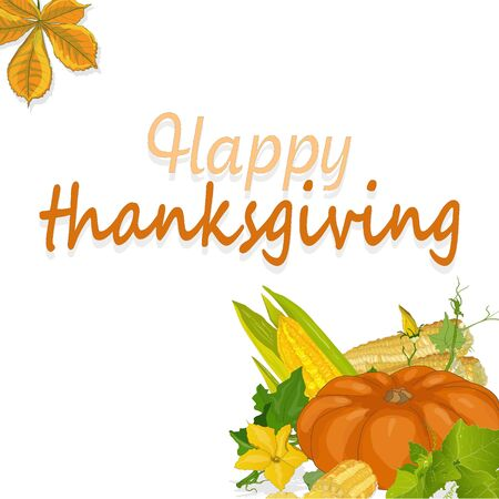 Happy Thanksgiving script with pumpkins and leaves vector illustration on white background.