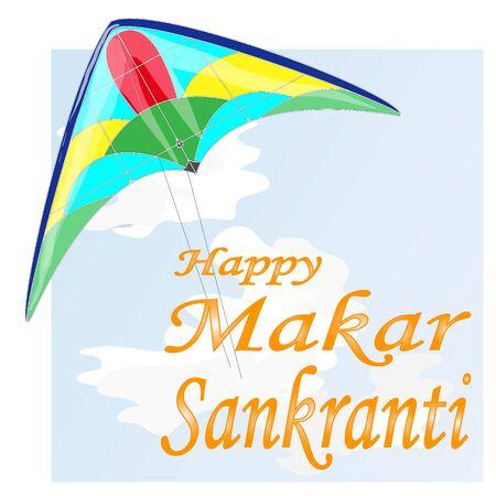Vector illustration of Happy Makar Sankrant festival of India.
