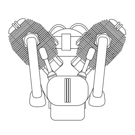 Motorcycle engine illustration on white background. Design monochrome element. Vector illustration...