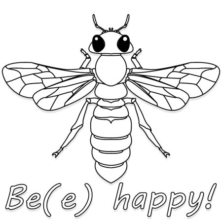 Bee monochrome illustration - vector text quotes and bee drawing. Lettering poster or t-shirt textile graphic design.
