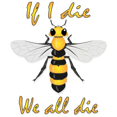 Bee illustration - vector text quotes and bee drawing. Lettering poster or t-shirt textile graphic design.