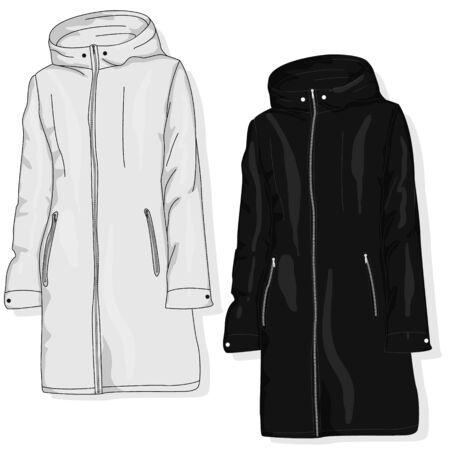 Female coat illustration isolated on white. Fashion collection. Parka vector image.