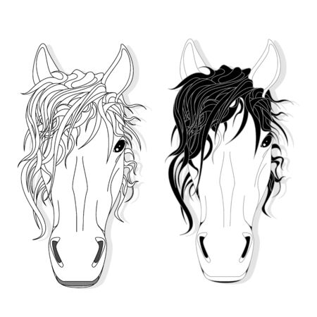 Vector illustration of horse head clip-art set. Monochrome image. Colouring page. Stock Vector - 136820677