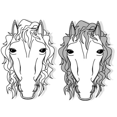 Vector illustration of horse head clip-art set. Monochrome image. Colouring page. Stock Vector - 136814743