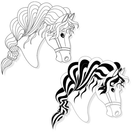 Vector illustration of horse head clip-art set. Monochrome image. Colouring page. Stock Vector - 136814822