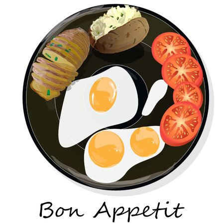 Fried egg, sliced tomato and baked potato. Vector illustration of food on cast iron pan and white background.