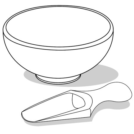 empty wooden scoop and bowl on a white background. Vector illustration. Monochrome image..