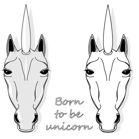 Unicorn head illustration isolated on white background. Vector illustration. Coloring page.  イラスト・ベクター素材