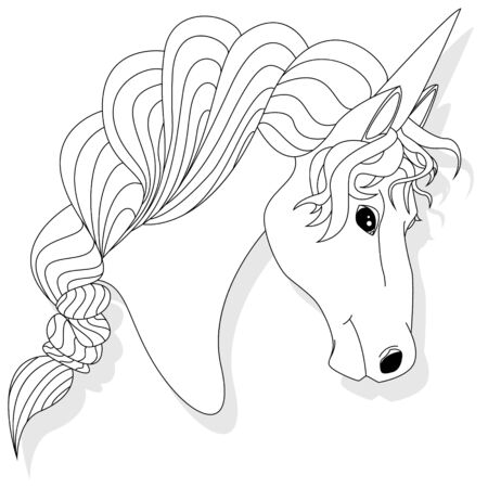 Unicorn head illustration isolated on white background. Vector illustration. Coloring page. Illustration