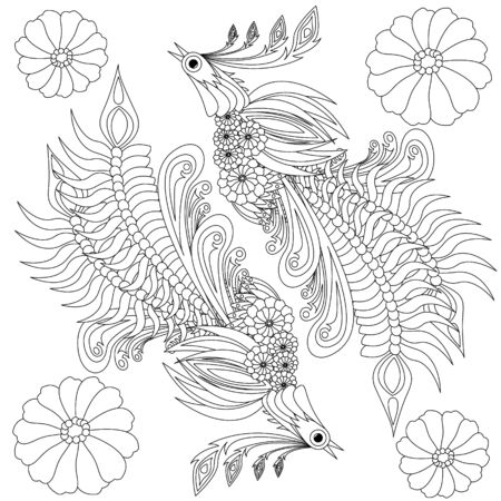 Floral ukrainian vector image. Flower in the style of Petrykivka painting. Isolated element for design. Coloring page