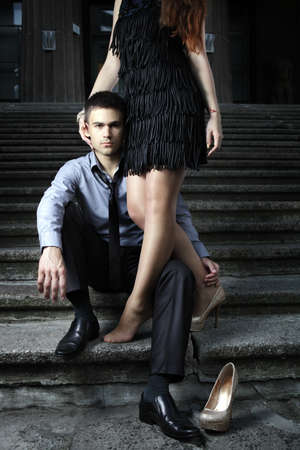 Fashion photo of handsome man and women