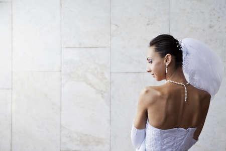 Wedding portrait of beautiful young bride outdoor Stock Photo