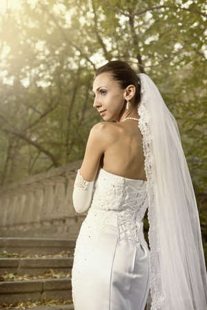 Wedding portrait of beautiful young bride outdoor Stock Photo