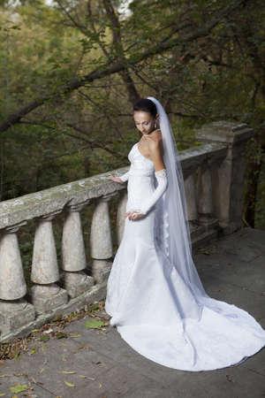 ringlet: Wedding portrait of beautiful young bride outdoor Stock Photo