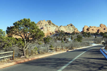 Roud in Garden of the Gods Park in Colorado Springs, Colorado