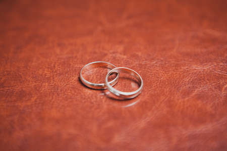 closeup of two gold rings on lather photo