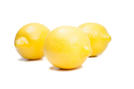 one single  yellow lemon on white background Stock Photo