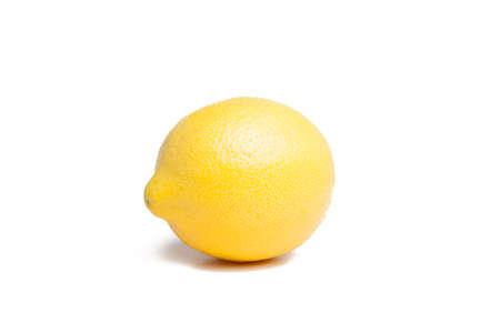 one single  yellow lemon on white background Stock Photo